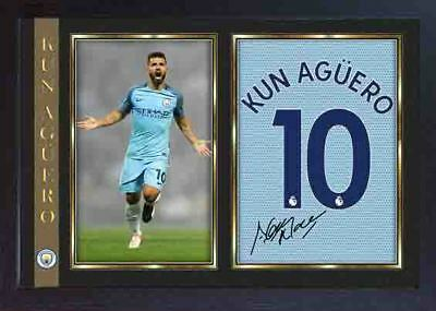 Kun Sergio Aguero signed autograph photo print MANCHESTER MAN CITY Framed