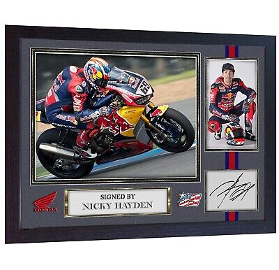 Nicky Hayden Autograph print signed photo picture Memorabilia  FRAMED (MDF)