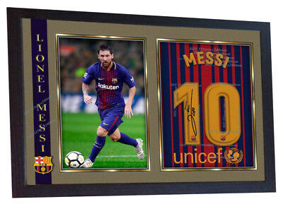 new 2018 Lionel Messi Barcelona autograph signed poster photo print FRAMED #006