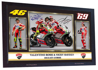 Valentino Rossi Nicky Hayden Autograph print signed photo picture FRAMED