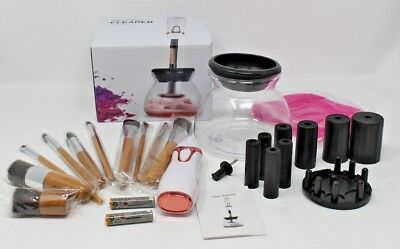 10pc Makeup Brush Set & Cleaner/Dryer Electric Spinner Machine Cleaning Tool