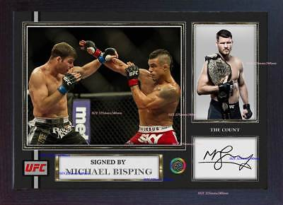 """SIGNED MICHAEL BISPING UFC CHAMPION 16/""""x12/"""" PHOTOGRAPH SEE PROOF MMA CAGE /& COA"""