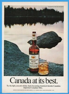 1974 Canadian Mist Whisky Fisher Lake Nova Scotia Canada Bottle Rocks Print Ad