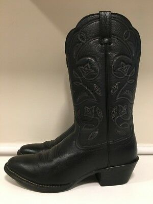 Ariat Heritage R Toe Black Leather Cowboy Western Boots Women's Size 7 B