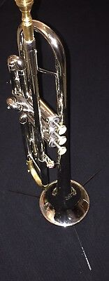 Custom Silver Trumpet W Gold 15m Mouthpiece And Satin Finished Tuning Slide