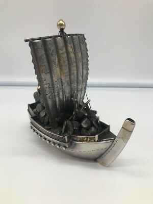 Japanese Or Chinese Sterling Silver Boat