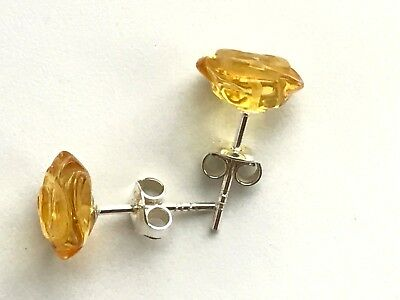 Real Genuine NATURAL BALTIC AMBER stone carved rose flower earrings silver #1466