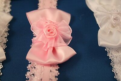 Baby Girls Lace Hair Band Pink Ivory or White Baby Headband Alice Band 0-2 yrs