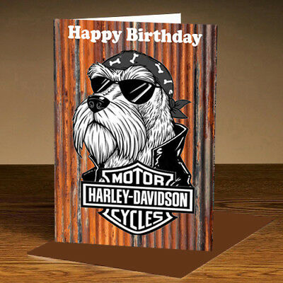 Harley Davidson Motorcycle Dog Birthday Card Can Be Personalised A5