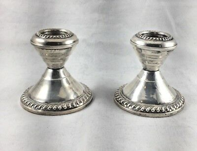 """Pair of Sterling Small Candlesticks- 2 5/8"""""""