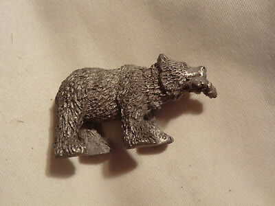 Bear with Fish Figurine Spoontique Pewter