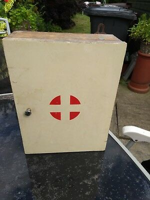 Vintage Retro Wooden Wall Hanging First Aid Cabinet With Original Notes Inside