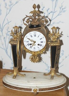 Stunning Antique French Japy Freres Marble and Gilt Column Clock. 1870s
