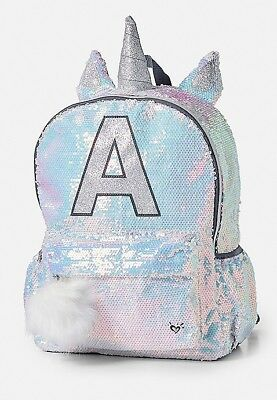 Justice Backpack sequin Unicorn letter initial A - Brand NEW - FREE LUNCH BOX