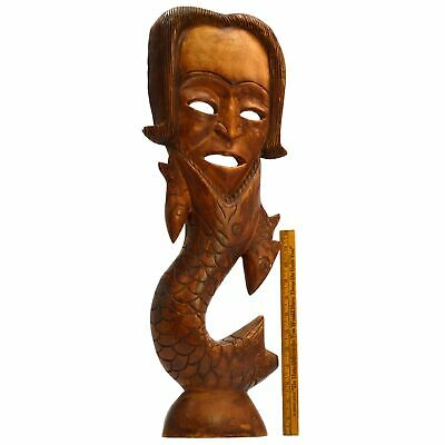 "Vintage HAND-CARVED HARDWOOD MERMAN WALL-HANGING 25"" Wood Man/Fish Statue UNIQUE"