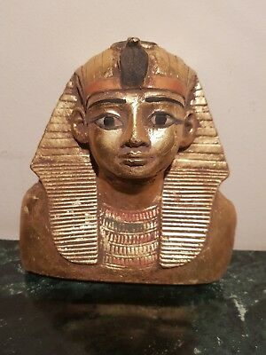 Rare Antique Ancient Egyptian King Tutankhamun Mask Crownd Water Gold1332–1323BC
