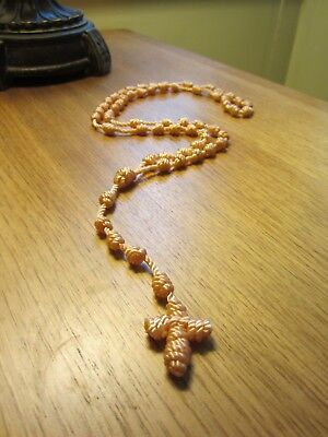 Nylon Knotted  Cord Rosary - Peach