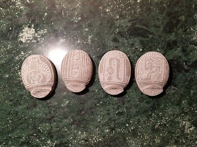Rare Antique Ancient Egyptian 4 Scarabs Brings luck Cobra Anubis 2180-2190BC