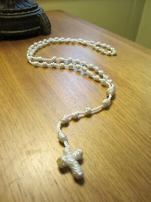 Nylon Knotted Cord Rosary - White