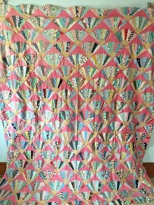 Vintage 1930s Fans Quilt Top - Feed Sack