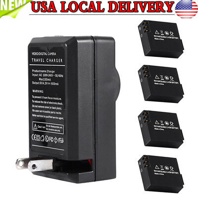 4x 3.7V 900mAh Li-ion Battery for SJ4000 SJ5000 SJ6000 Action Camera DVR+Charger