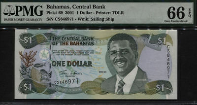 *2ND FINEST KNOWN* P 69  2001 Bahamas $1 Dollar Central Bank PMG 66 EPQ