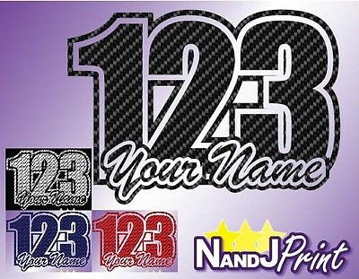 3 x Race number, name stickers decals MX motocross pit bike Carbon colours