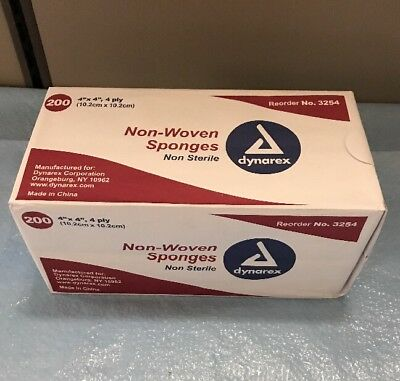 """Dynarex 3254 Non-Woven 4-ply NON-sterile Sponges 4"""" x 4"""" Package of 200"""