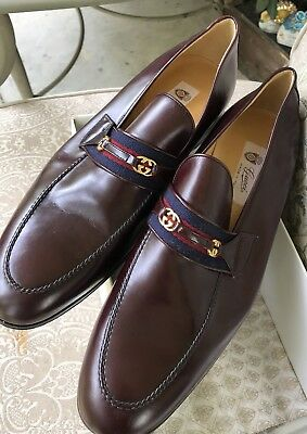 RARE GUCCI NEW NIB VTG MEN'S Size 12 Dress Shoes Burgundy Leather Signature Band