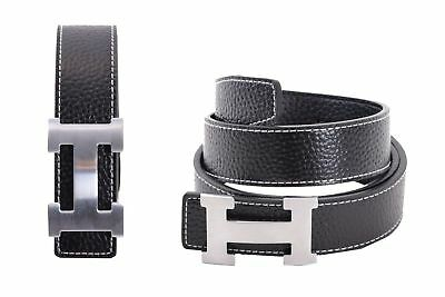 Mens Fashion Belt Hermes Black Leather Metal Buckle Steel Stylish Gift Women Men