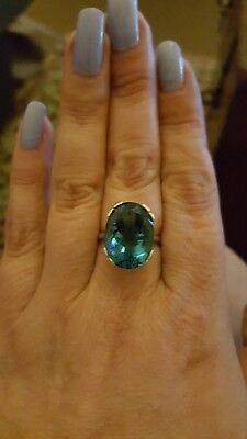 15 carat Natural LONDON BLUE TOPAZ ring solid Sterling silver size N A VTG swiss
