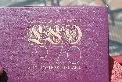 Vtge 1970 Coinage of Great Britain and Northern Ireland Proof Coin Set BOX & COA