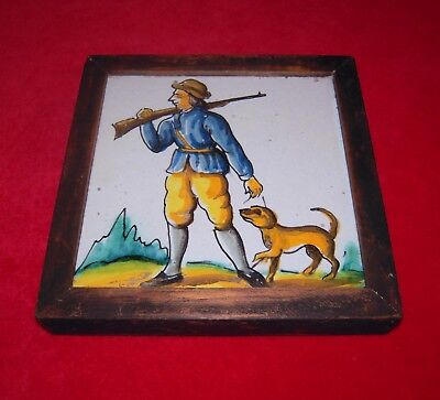 Antique Spanish Framed Tile with Hunter Carrying Rifle & Dog at Side