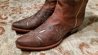 5a329109b Shyanne Daisy Mae Brown Leather Snip Toe Western Boots Flower Inlays Women's  6B
