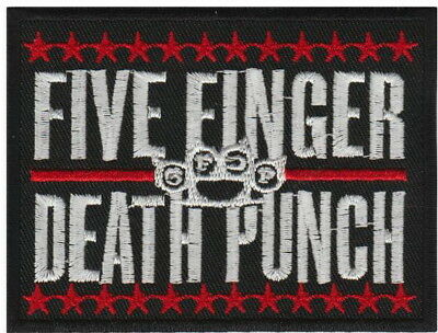 """Five Finger Death Punch 5FDP Stars Embroidered Iron On Patch 3.5""""/9cm"""