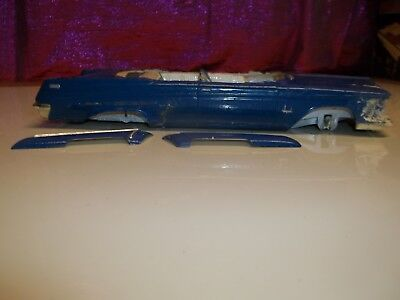 vintage plastic model cars 1962 Chrysler Imperial Rough Painted Blue