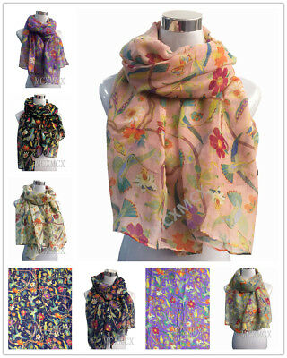 Women Ladies Long Fashion Soft Flower Bird Print Pattern Shawl Scarf Scarves