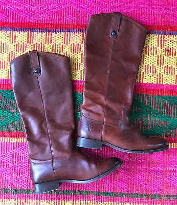 FRYE Melissa 2 Button 77167 Tall Pull On Riding Boots Flats Shoes Womens sz 8