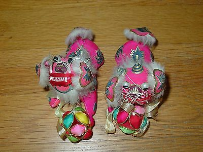 Chinese Pair Small Pink Guardian Lion Foo Dogs