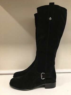 NEW! La Canadienne Stefanie Black Suede Knee High Tall Riding Boots Women's 9 M