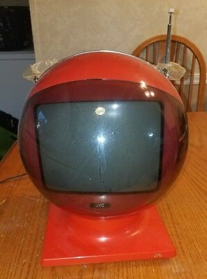 Vintage JVC Videosphere Model 3250 Space Helmet Television Red w/Base