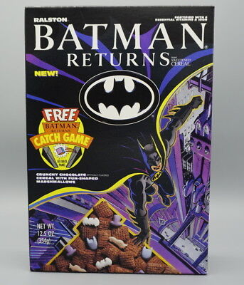 Batman Returns Cereal Box with Catch Game on back   1992
