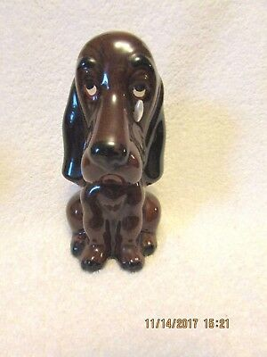 Vtg Enesco Sad Dog Brown Basset Hound Big Teardrop w/Original Stopper Red Clay