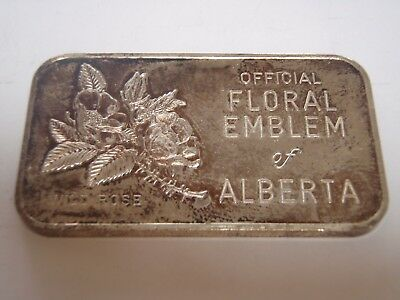 SCARCE Silver Art Bar 'Official Floral Emblem of Alberta minted by Western Mint
