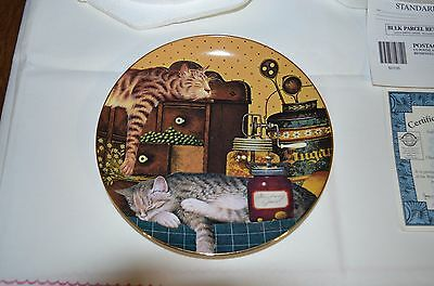 "2001 Bradford Exchange Purr-Fect Pairs Cat Plate ""sleeping On The Job"""