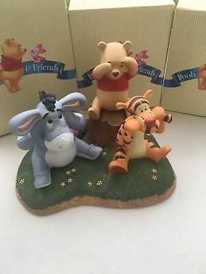 Disney Porcelain Figures Pooh Friends Tigger Eeyore See Hear