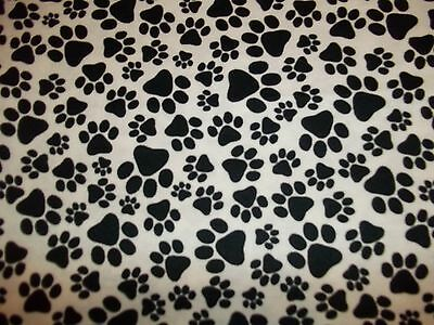Handmade  flannel  fitted crib sheet White w/ Black Puppy Paw Prints/Neutral
