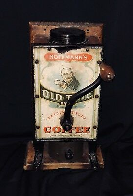 Hoffman's Old Time Brand Coffee Grinder & Tin Sign Lithograph