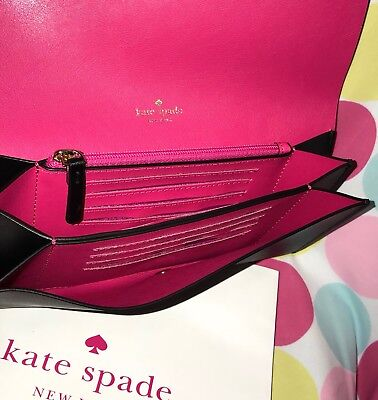 NEW KATE SPADE PIM PUTNAM DRIVE  LEATHER FLAP WALLET in BLACK and RADISH PINK