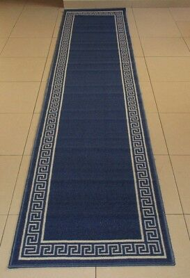 New Modern Blue Rubber Back Floor Hallway Runner Rug 67X300Cm